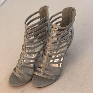 Windsor Silver Glitter Heels Size 10